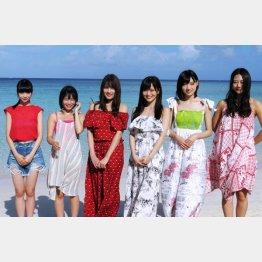(左から)荻野由佳、朝長美桜、入山杏奈、山本彩、太田夢莉、古畑奈和/(C)日刊ゲンダイ