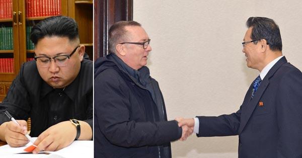 金正恩(左=朝鮮通信・共同)は国連にどう応じる?(右は朴次官と握手するフェルトマン事務次長)/(C)共同通信社