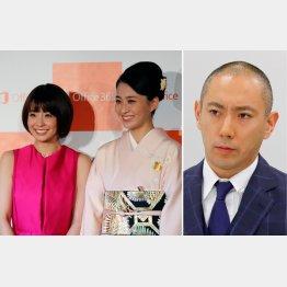 市川海老蔵(右)と小林麻耶&麻央姉妹/(C)日刊ゲンダイ