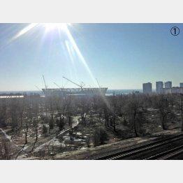 ママエフの丘から見たボルゴグラードアリーナ。急ピッチで工事が進んでいた(提供写真)