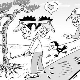 ボールが木の根元にあって絶対に打てないがスタンスがカート道にかかるケース