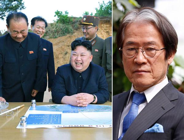 中距離弾道ミサイルの発射実験に立ち会う金正恩朝鮮労働党委員長(右は辺真一氏)(C)共同通信社