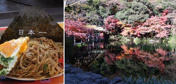 富士宮やきそばは外せない(左)、身を清めた「湧玉池」/(C)日刊ゲンダイ