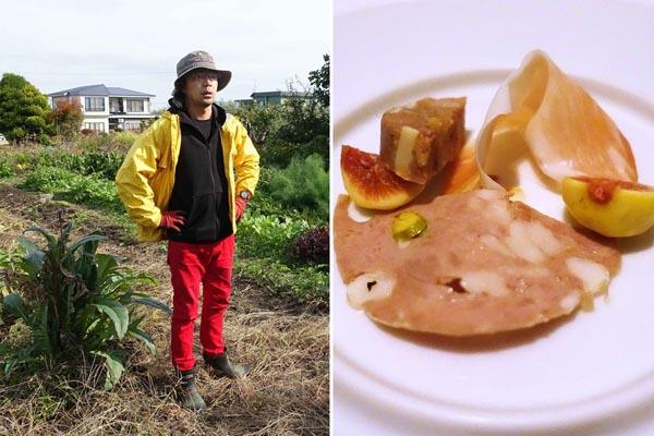 ワインまで作る笹森さん(オスラリア・エノテカ・サッシーノ)と自家製のハム類/(C)日刊ゲンダイ