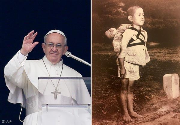 フランシスコ・ローマ法王(左)がメッセージを込めた「焼き場に立つ少年」/(C)バチカン提供・共同