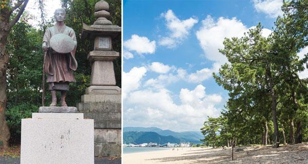 芭蕉が月を眺めた氣比神社(左)、気比の松原/(C)日刊ゲンダイ