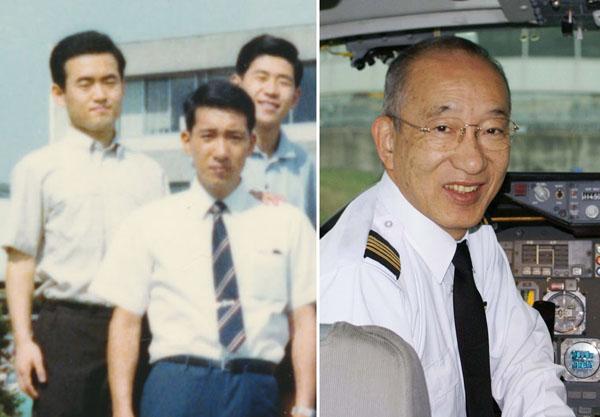 左が親友の藤田氏、真ん中が本人(提供写真)