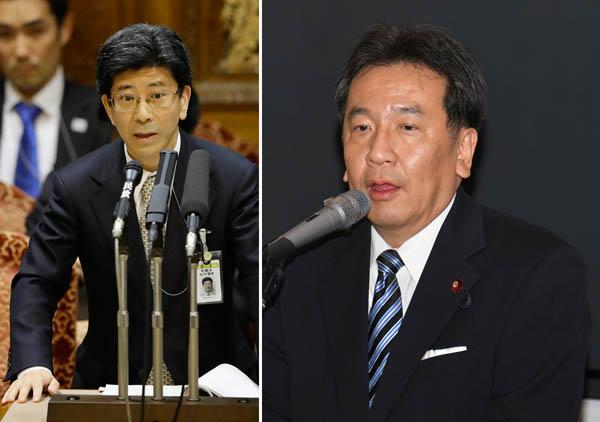 立憲民主党の枝野代表(右)と佐川国税庁長官/(C)日刊ゲンダイ