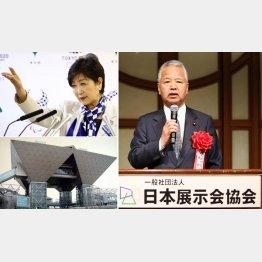 甘利元大臣はヤル気マンマン(左は小池都知事&東京ビッグサイト)(C)日刊ゲンダイ