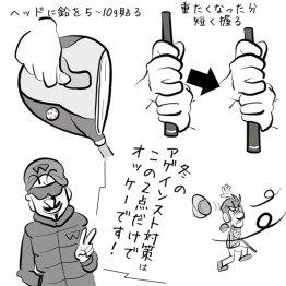 冬のラウンド対策 ヘッドに鉛を貼ると力強い弾道が打てる