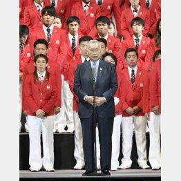 リオの壮行会では「表彰台で国歌を」と念押しした森喜朗五輪組織委会長(C)共同通信社