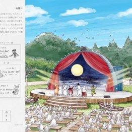 センター試験地理Bの問題(左・共同)と「ムーミンバレーパーク」のイメージ画/(C)Moomin Characters TM