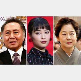 左から北大路欣也、広瀬すず、田中裕子(C)日刊ゲンダイ