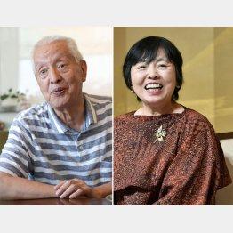 上原正三氏(左)と若竹千佐子氏(C)共同通信社