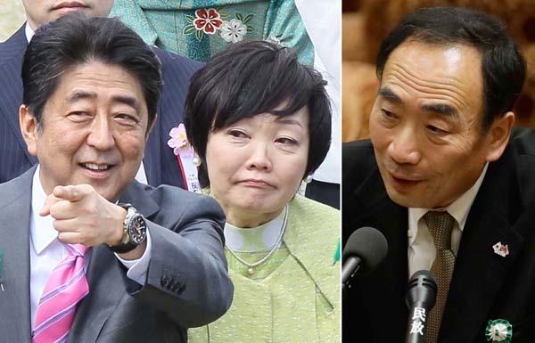 安倍首相夫妻と籠池泰典前理事長(C)日刊ゲンダイ