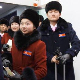 韓国に到着したフィギュアスケートの北朝鮮ペア(C)共同通信社