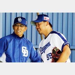 投球練習を終えた松坂に指揮官はこの表情(C)日刊ゲンダイ