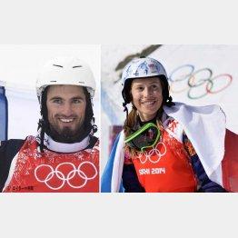 ピエール・ボルティエ選手(左)とエバ・サムコバ選手(C)共同通信社