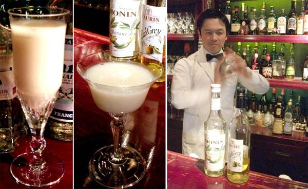 左から、トロピカルな雰囲気の「雅」と食後酒「雪化粧」のカクテル(バーテンダー森崎氏)/(C)日刊ゲンダイ