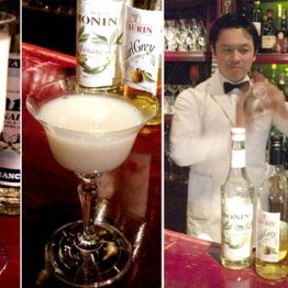 左から、トロピカルな雰囲気の「雅」と食後酒「雪化粧」のカクテル(バーテンダー森崎氏)