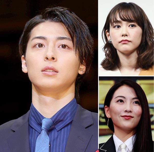 (左から時計回りで)同じ事務所に所属する高杉真宙、桐谷美玲、知英(C)日刊ゲンダイ