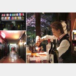 昭和っぽい路地に約50軒のネオン看板が光るビルが…(右は「LUCKY12」の美人オーナーあゆみさん)/(C)日刊ゲンダイ