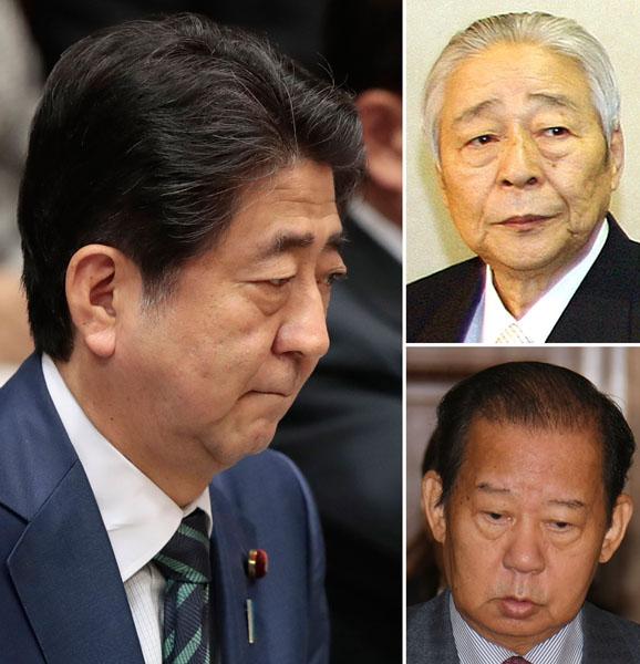 """""""反安倍""""に動く?(右上から青木氏、二階幹事長)(C)日刊ゲンダイ"""