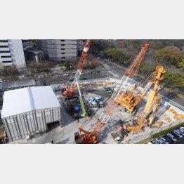 リニア中央新幹線の非常口新設工事現場(C)共同通信社