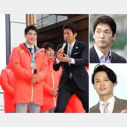 左から時計回りに、司会の松岡修造の質問に応えるモーグル銅メダルの原大智選手、長嶋一茂、花田優一(C)日刊ゲンダイ