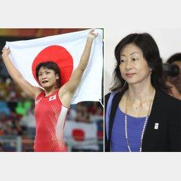 伊調馨(左)と山口香氏(C)日刊ゲンダイ