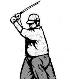 バックスイングは一本足打法のイメージ