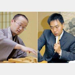 三浦九段(右)は渡辺棋王との「因縁の対局」に勝ち残留(C)共同通信社