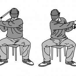 椅子に座りスイング 左肘をたたむ感覚を養う即効ドリル
