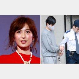 高垣麗子(左)と逮捕され送検される夫でDJの森田昌典容疑者/(C)日刊ゲンダイ