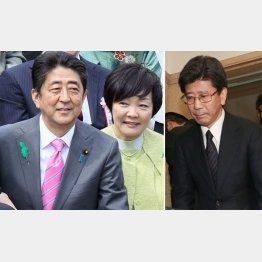 安倍首相夫妻と国税庁長官辞任会見を行った佐川宣寿氏(C)日刊ゲンダイ