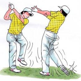 どっしりアドレスではボールは飛ばない 踵で地面を蹴る