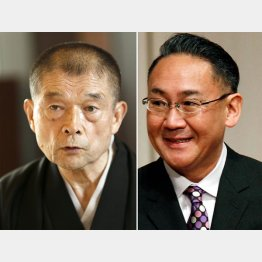 人間国宝・10代目柳家小三治(左)と林家正蔵(C)共同通信社