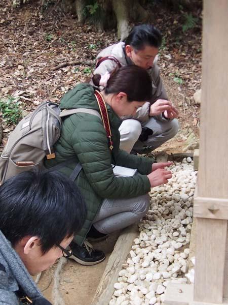 みんな夢中で石を磨く(事任八幡宮)(C)日刊ゲンダイ