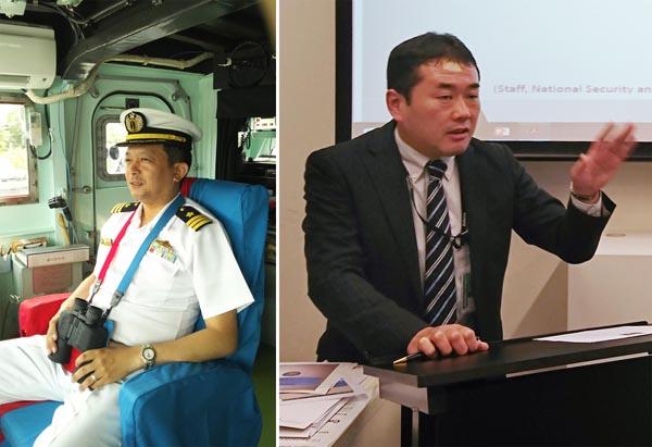 右は、オーストラリア国立大学にて(豪海軍ツイッターから)、左は読者提供