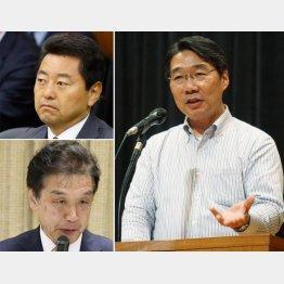 池田佳隆(左上)赤池誠章(同下)両議員は日本会議国会議員懇談会所属、(右は前川氏)/(C)共同通信社