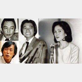 左上から時計回りに、安藤昇、萩原健一といしだあゆみ(80年の婚約発表会見)、岩城滉一/(C)日刊ゲンダイ