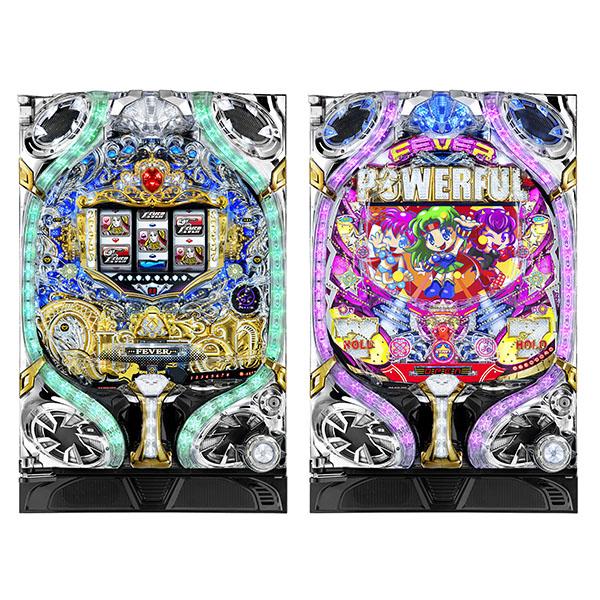 CRフィーバークィーン2018DS(左)とCRフィーバーパワフル2018DS(C)SANKYO (C)ジェイビー