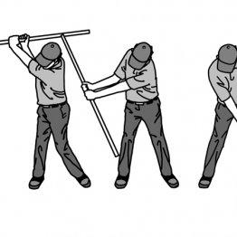 タイミング良くコックする感覚は長い棒でつかむ