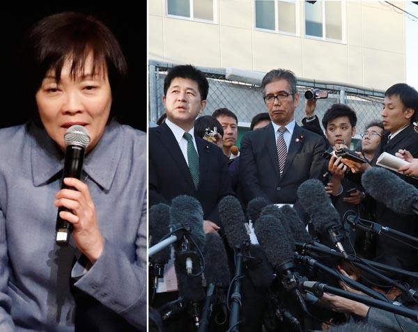 昭恵夫人には正直に話してもらうしかない。写真右は会見する希望・今井議員と共産・宮本議員(C)日刊ゲンダイ