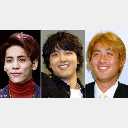 左から、「SHINee」のジョンヒョン、パク・ヨンハ、元巨人のチョ・ソンミン(C)日刊ゲンダイ