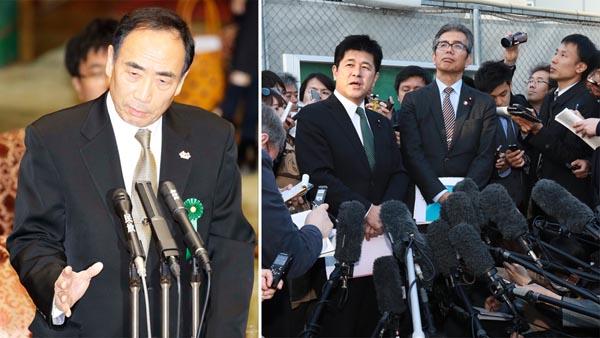 新事実が飛び出すか(大阪拘置所で籠池前理事長=左、と接見した野党議員)/(C)日刊ゲンダイ