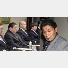 続投が決まった八角理事長(左、央)、右は貴乃花親方(C)共同通信社