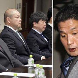 続投が決まった八角理事長(左、央)、右は貴乃花親方