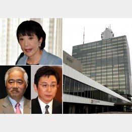 当時、高市総務相(左上)が幹部を呼びつけ、岸井成格氏と古舘伊知郎氏(左下)は軒並み降板させられた/(C)日刊ゲンダイ