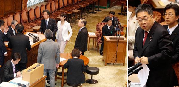 小池議員(右)の鋭い追及で審議が中断/(C)日刊ゲンダイ